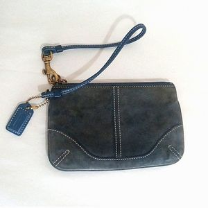 Coach Wristlet or Mini Purse Blue Grey Suede